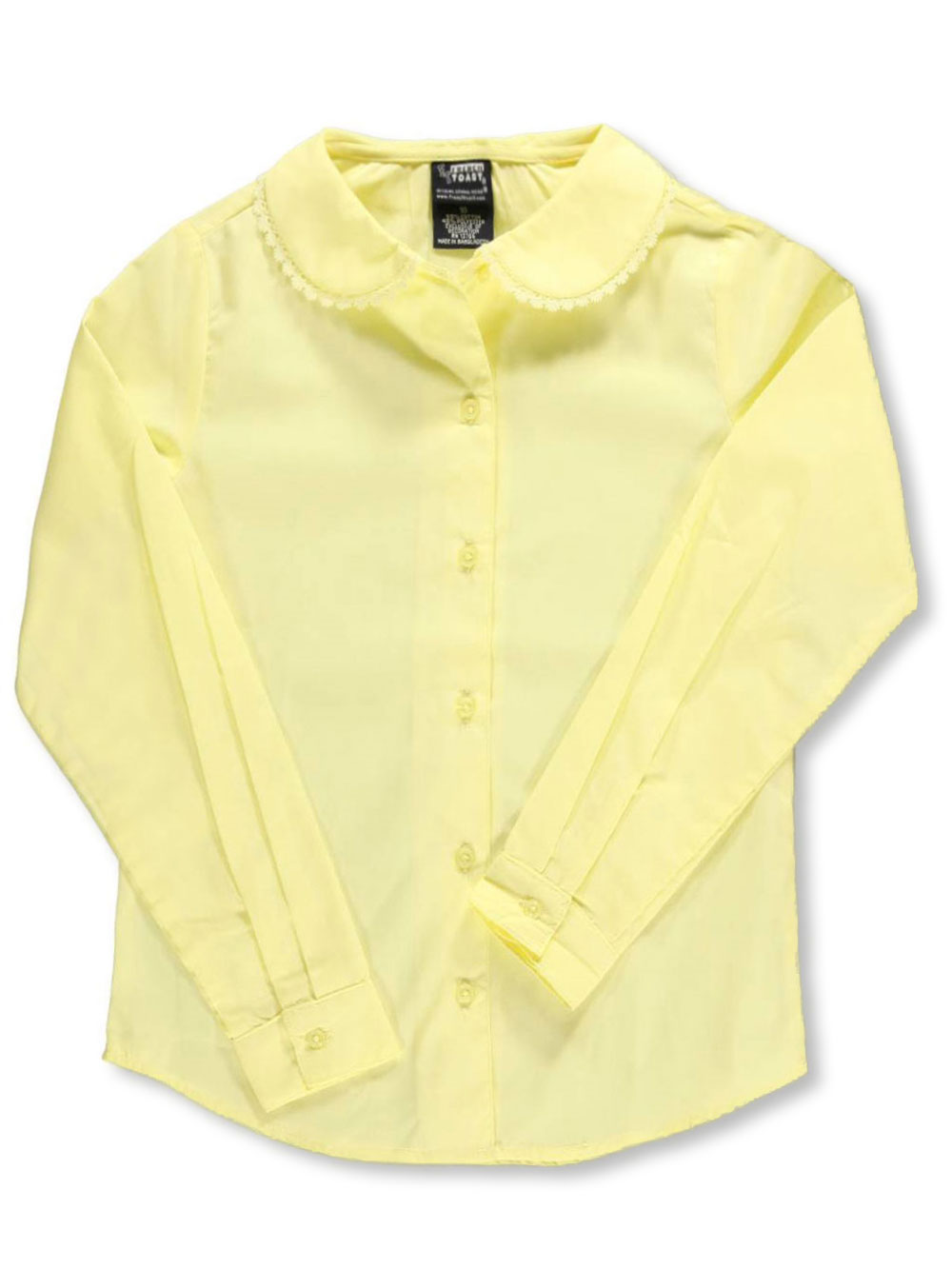 Image of French Toast School Uniform Big Girls LS Blouse with Lace Edging Sizes 7  16  yellow 12