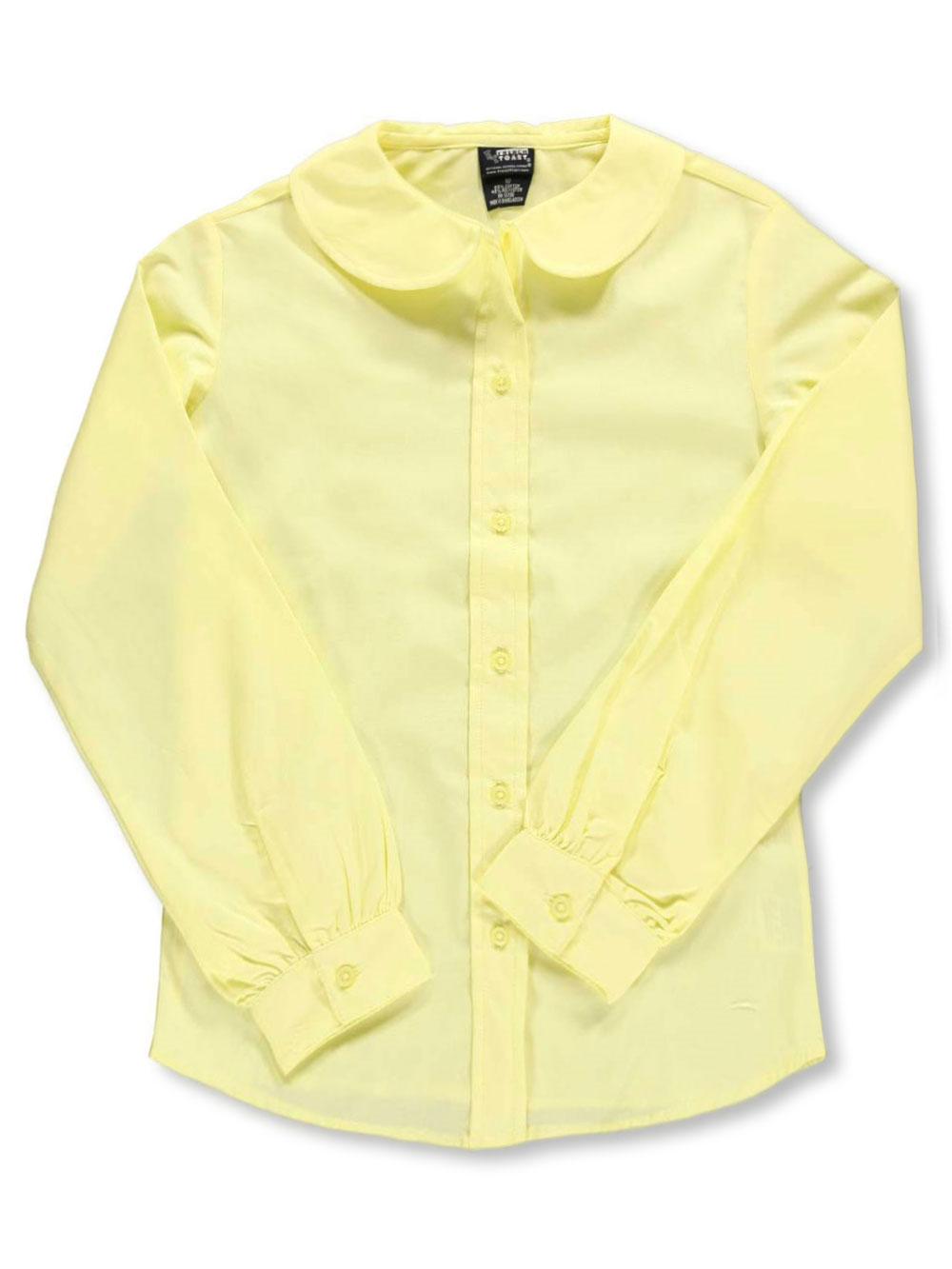 French Toast School Uniform Big Girls' L/S Peter Pan Blouse (Sizes 7 - 16) - yellow, 14