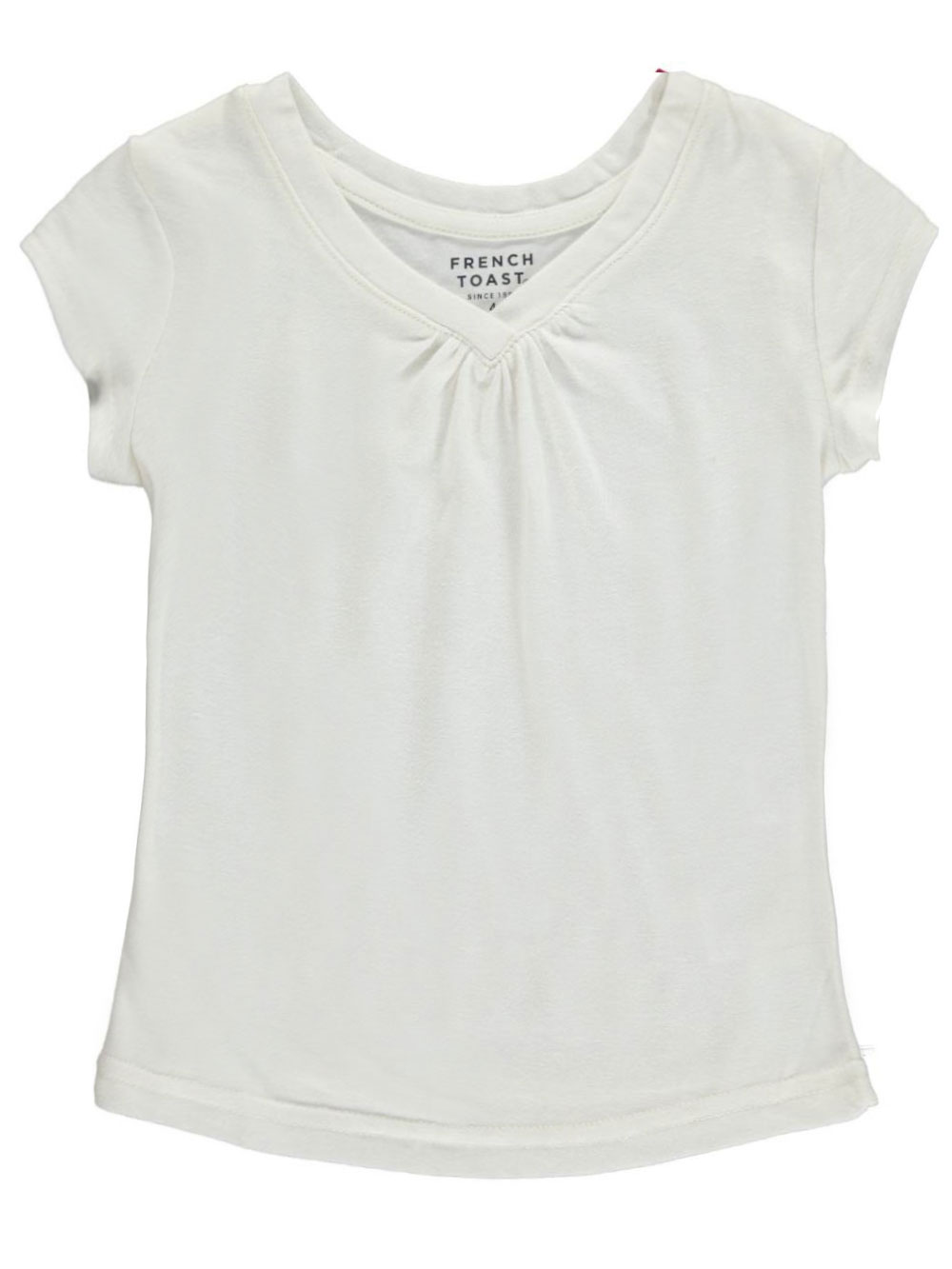 Image of French Toast Little Girls Ruched VNeck TShirt Sizes 4  6X  cream 4
