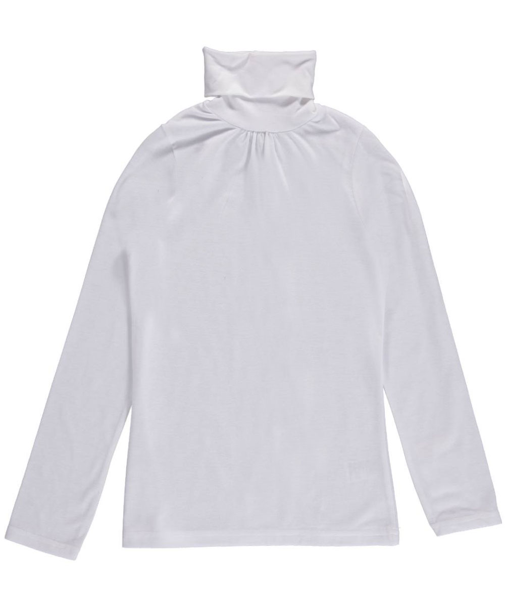 Image of French Toast Little Girls Ruched Turtleneck Sizes 4  6X  white 4