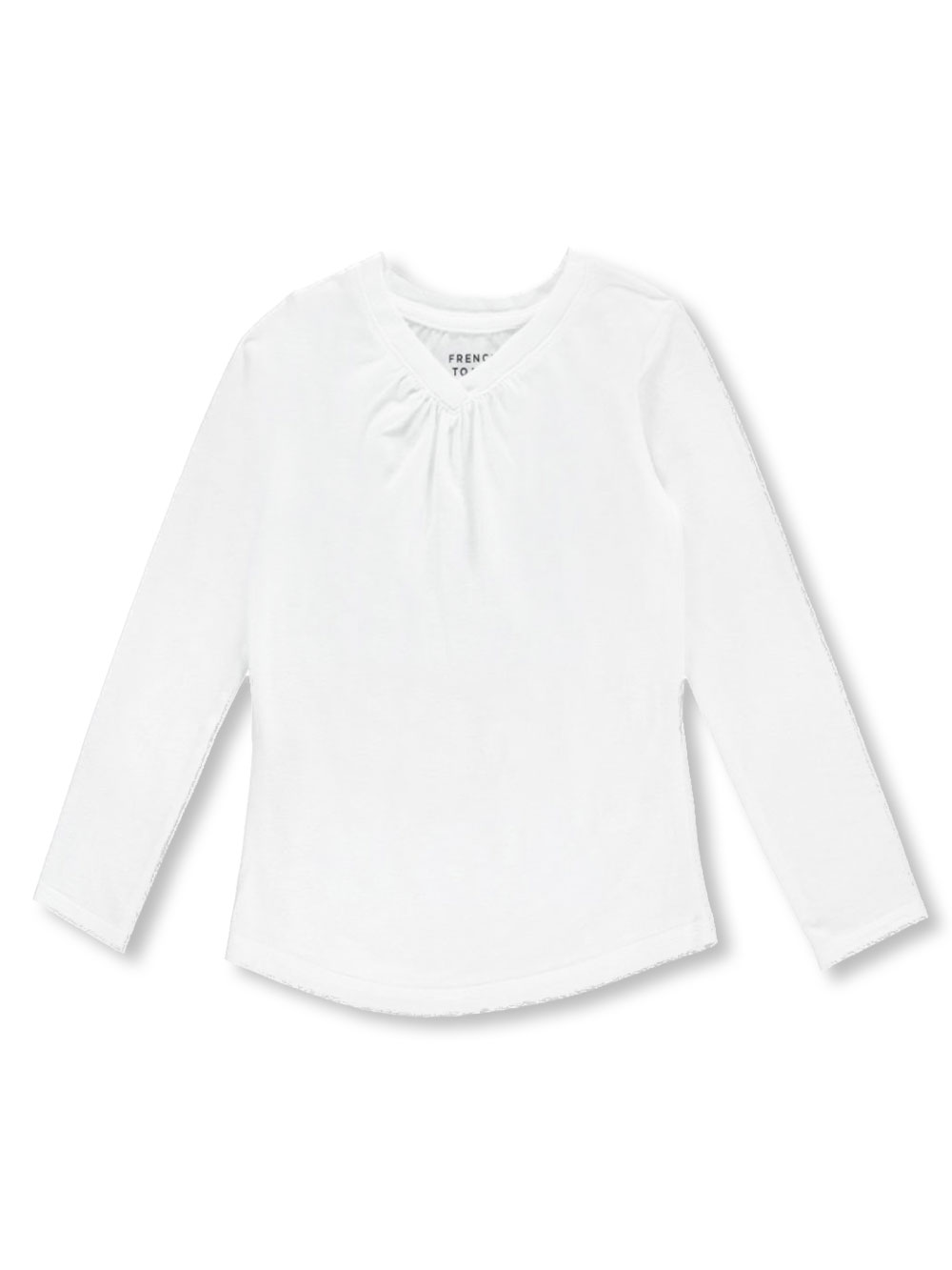 """c752e17cec6 French Toast Little Girls  """"Ruched V-Neck"""" L S T-Shirt (Sizes 4 – 6X)"""