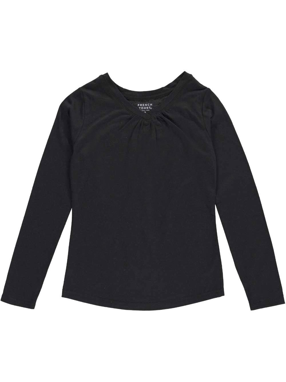 Image of French Toast Big Girls Ruched VNeck LS TShirt Sizes 7  16  black 12  14