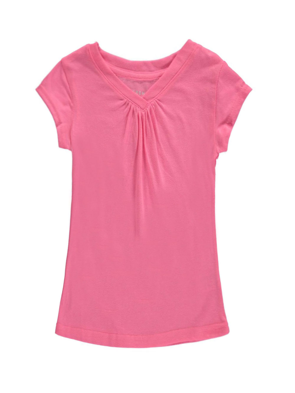 Image of French Toast Little Girls Toddler Ruched VNeck TShirt Sizes 2T  4T  pink 3t