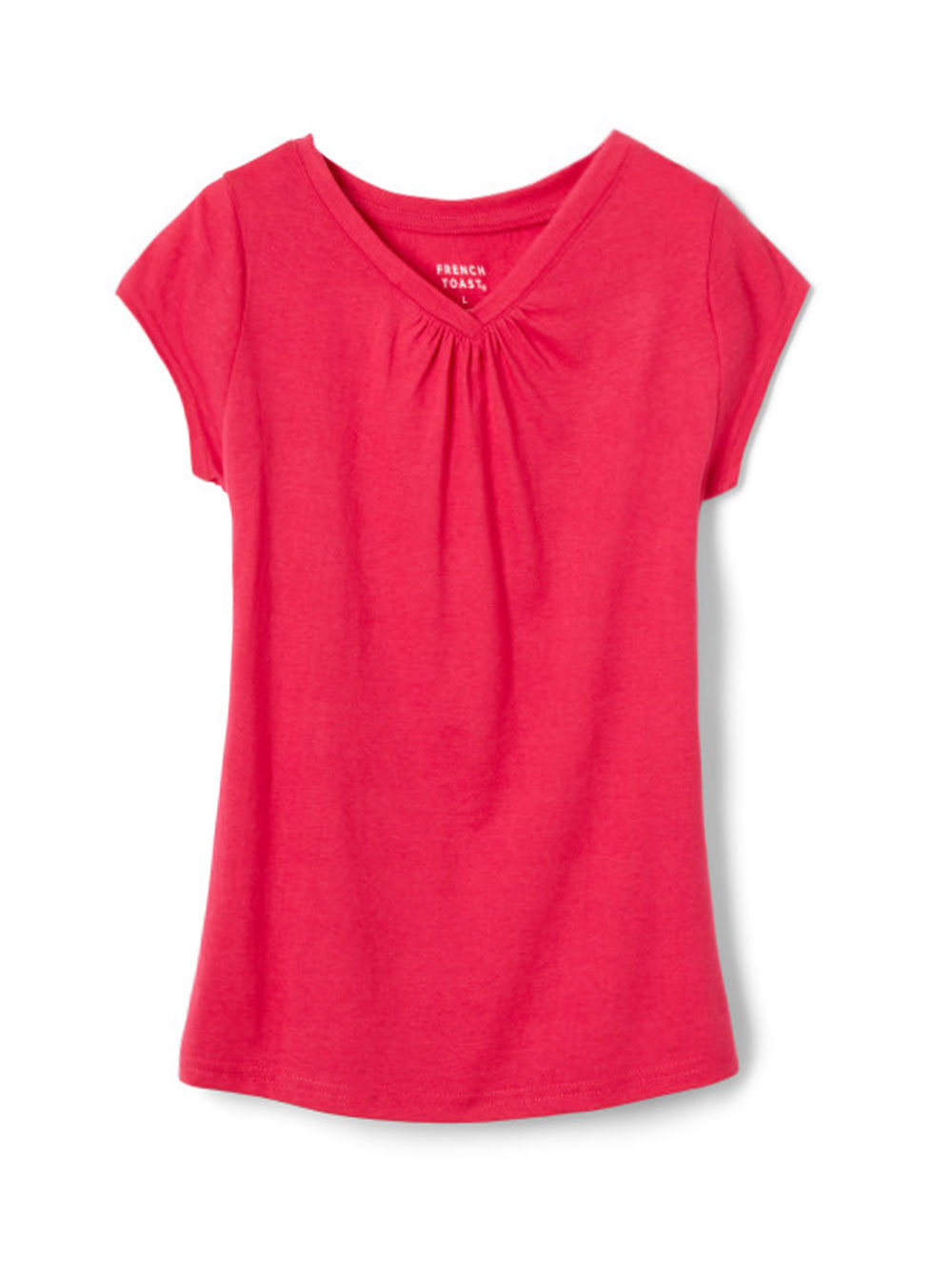 Image of French Toast Little Girls Toddler Ruched VNeck TShirt Sizes 2T  4T  fuchsia 4t