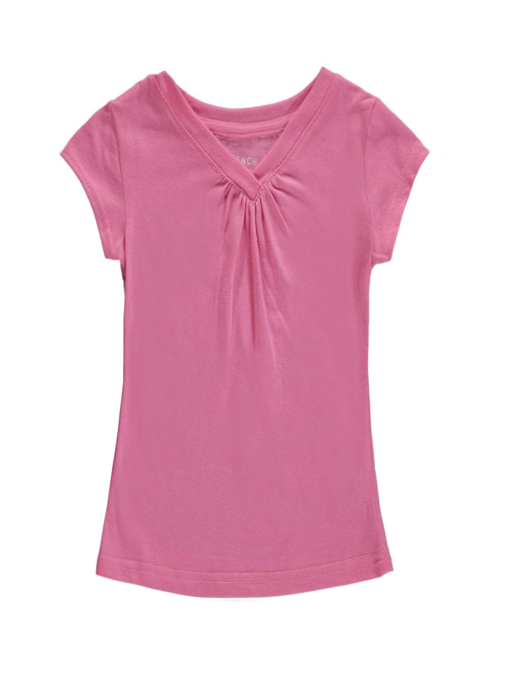 Image of French Toast Little Girls Toddler Ruched VNeck TShirt Sizes 2T  4T  sachet pink 4t