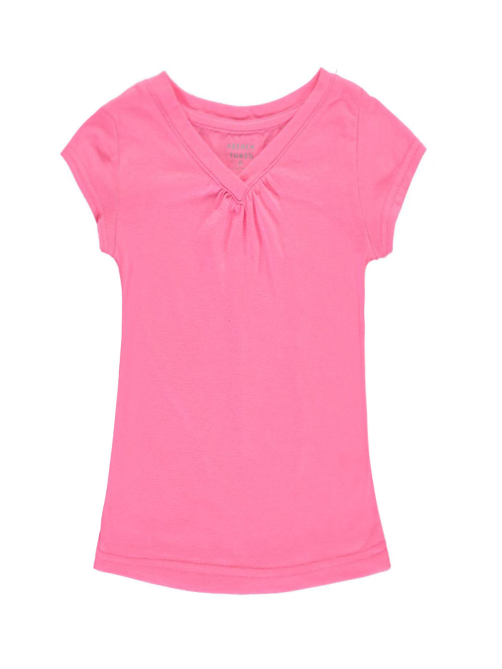 Image of French Toast Little Girls Toddler Ruched VNeck TShirt Sizes 2T  4T  bright pink 2t