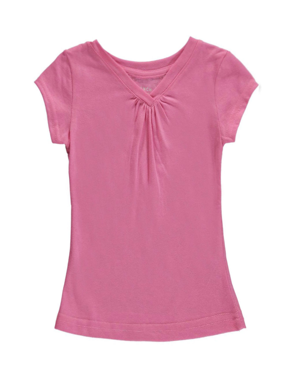 Image of French Toast Little Girls Ruched VNeck TShirt Sizes 4  6X  sachet pink 4