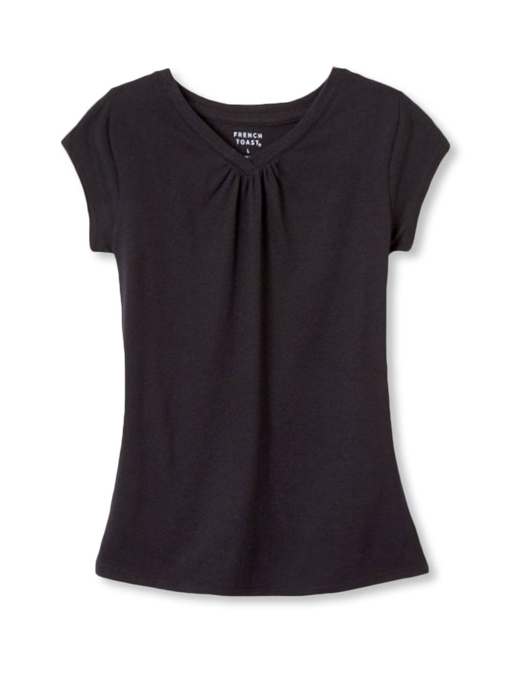 Image of French Toast Little Girls Ruched VNeck TShirt Sizes 4  6X  black 4