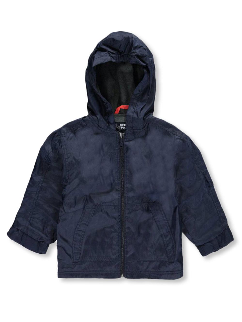 Image of French Toast School Uniform Little Boys Pocket Grid Rain Jacket Sizes 4  7  navy 4