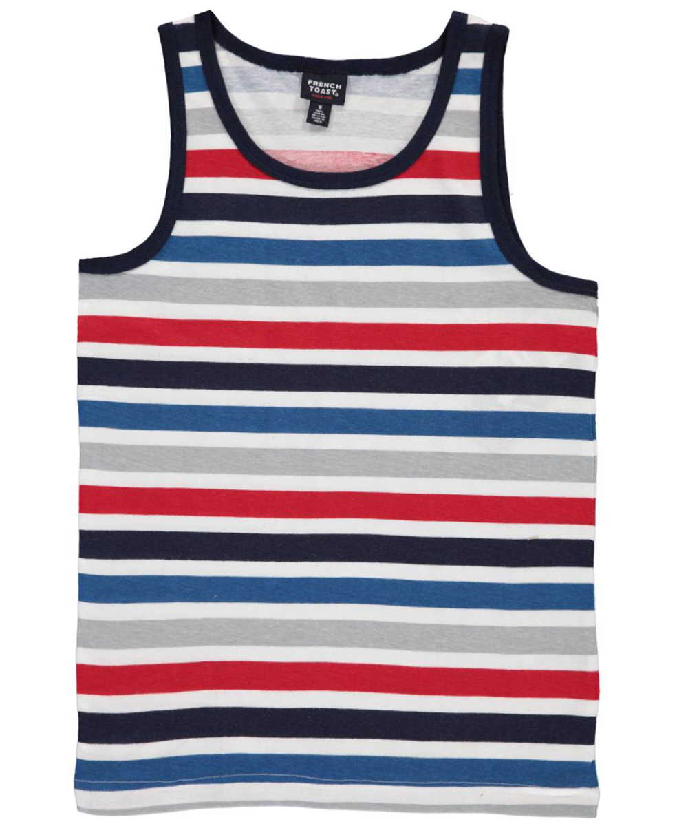 Image of French Toast Big Boys Stripe Balance Tank Top Sizes 8  20  red 1012
