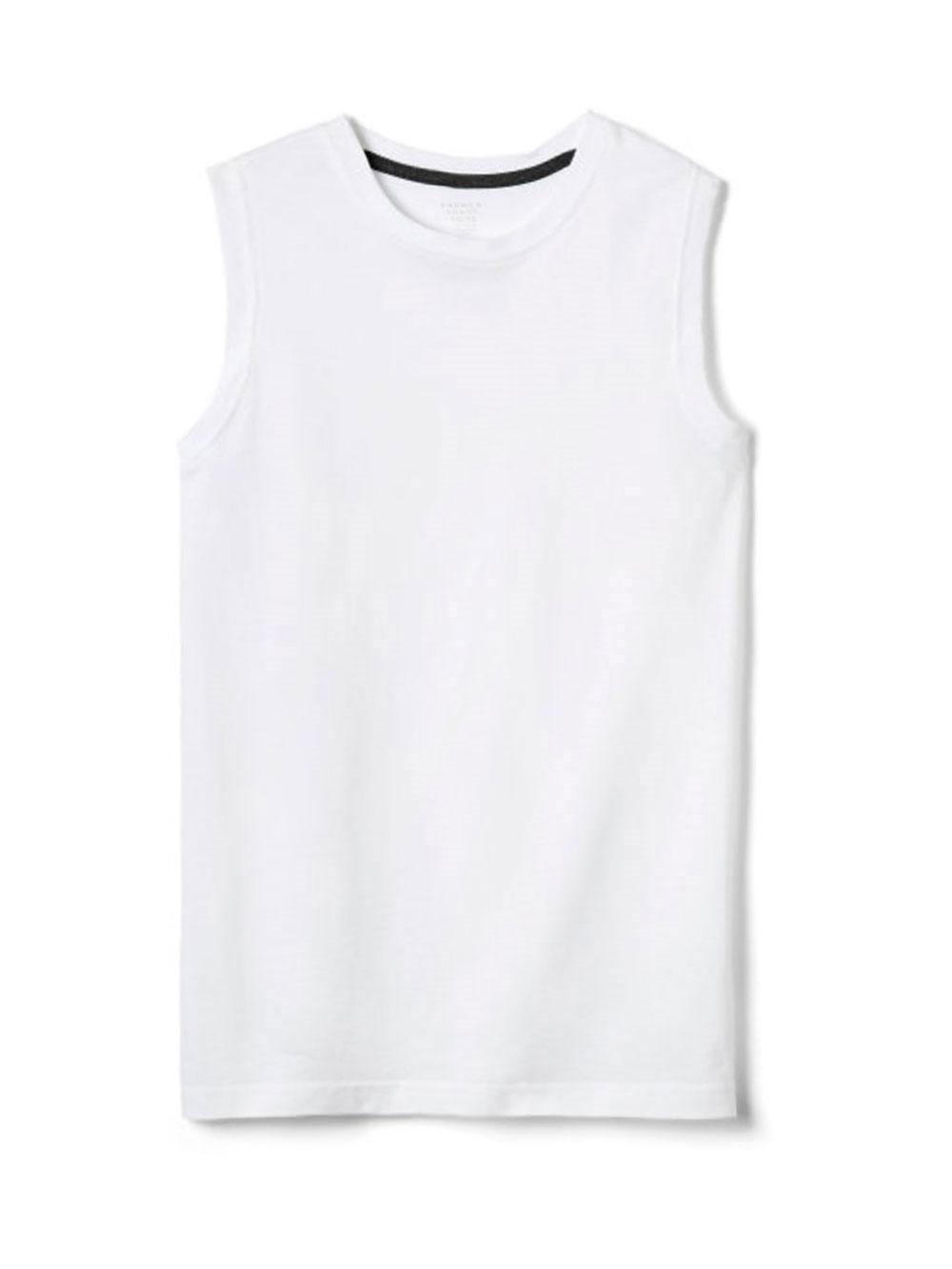 Image of French Toast Big Boys Sleeveless TShirt Sizes 8  20  white 1012