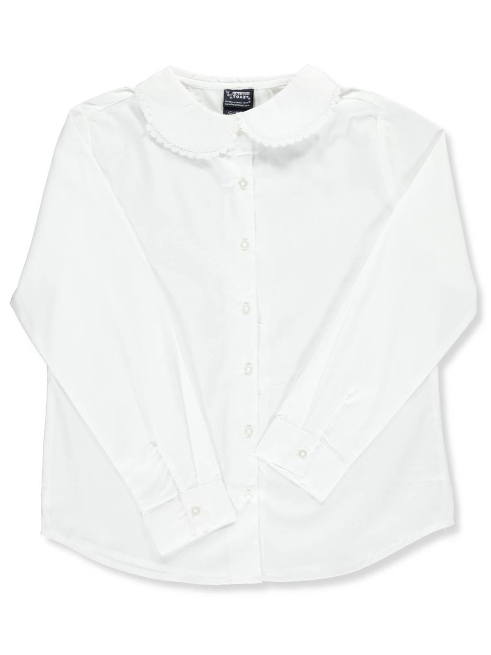 French Toast Big Girls' Plus Size L/S Blouse with Lace Edging (Size 14 5)