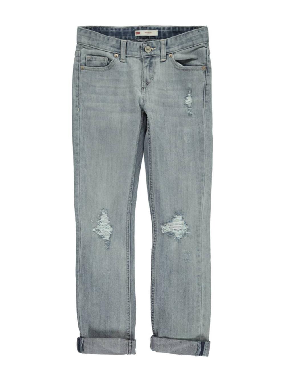 Image of Levis Big Girls Torn  Swooped Boyfriend Jeans Sizes 7  16  light blue 10