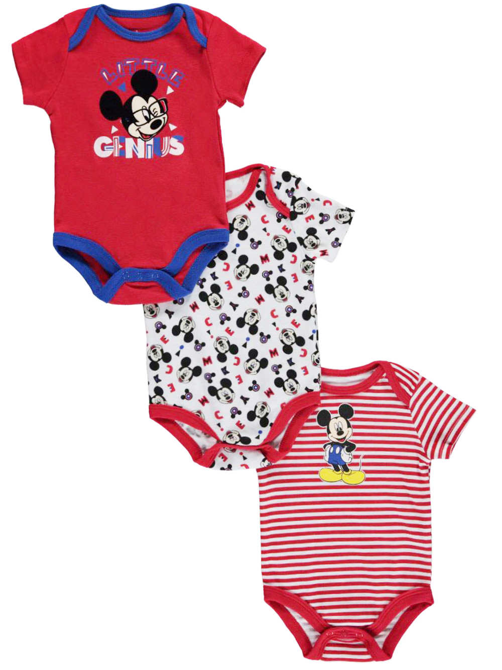 Image of Mickey Mouse Baby Boys Little Genius 3Pack Bodysuits