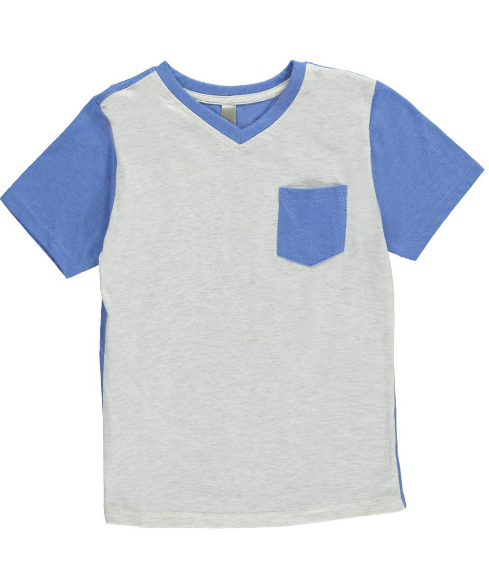 Image of MTL Apparel Big Boys Ribbed Heather VNeck TShirt Sizes 8  20  grayblue 18  20