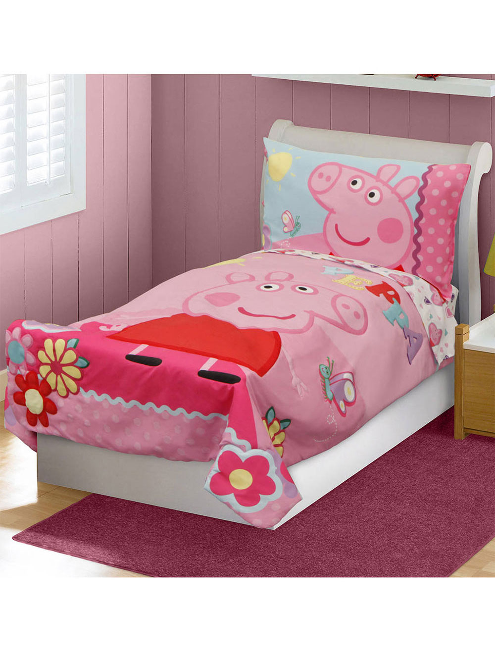 Image of Peppa Pig Sunny Peppa 4Piece Toddler Bedding Set