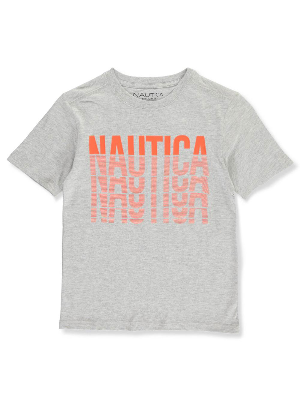 Boys' Lined Logo T-Shirt by Nautica in cobalt, gray heather, red and white