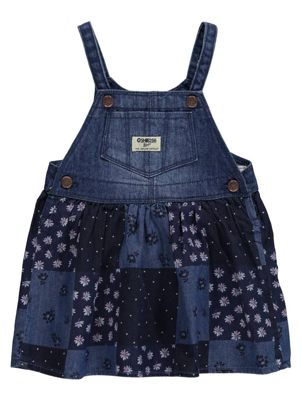 Image of OshKosh Baby Girls Patchwork Floral Overall Skirt  indigo blue 12 months