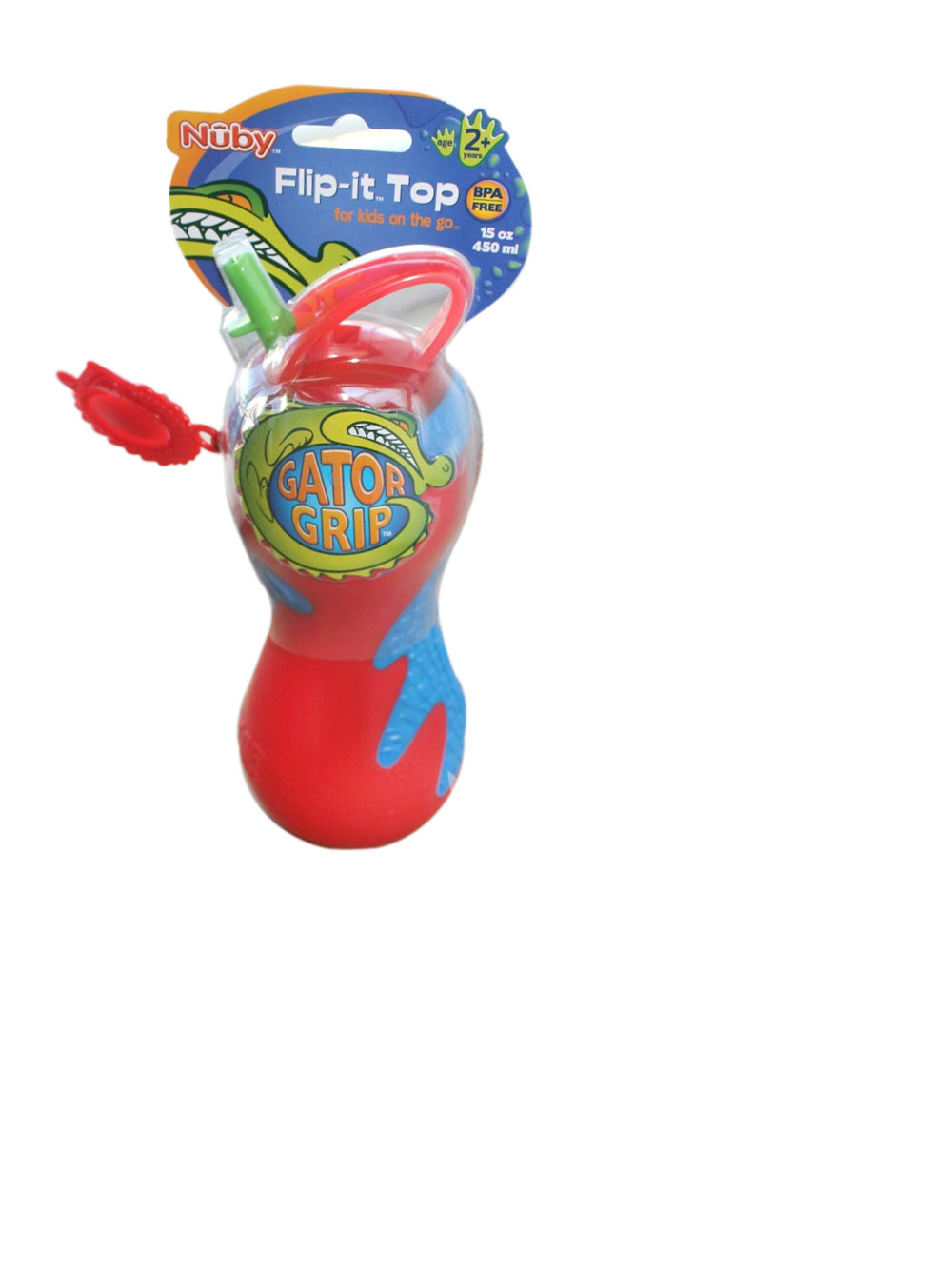 Image of Nuby Gator Grip Flipit Top Sipper 15 oz.  red one size