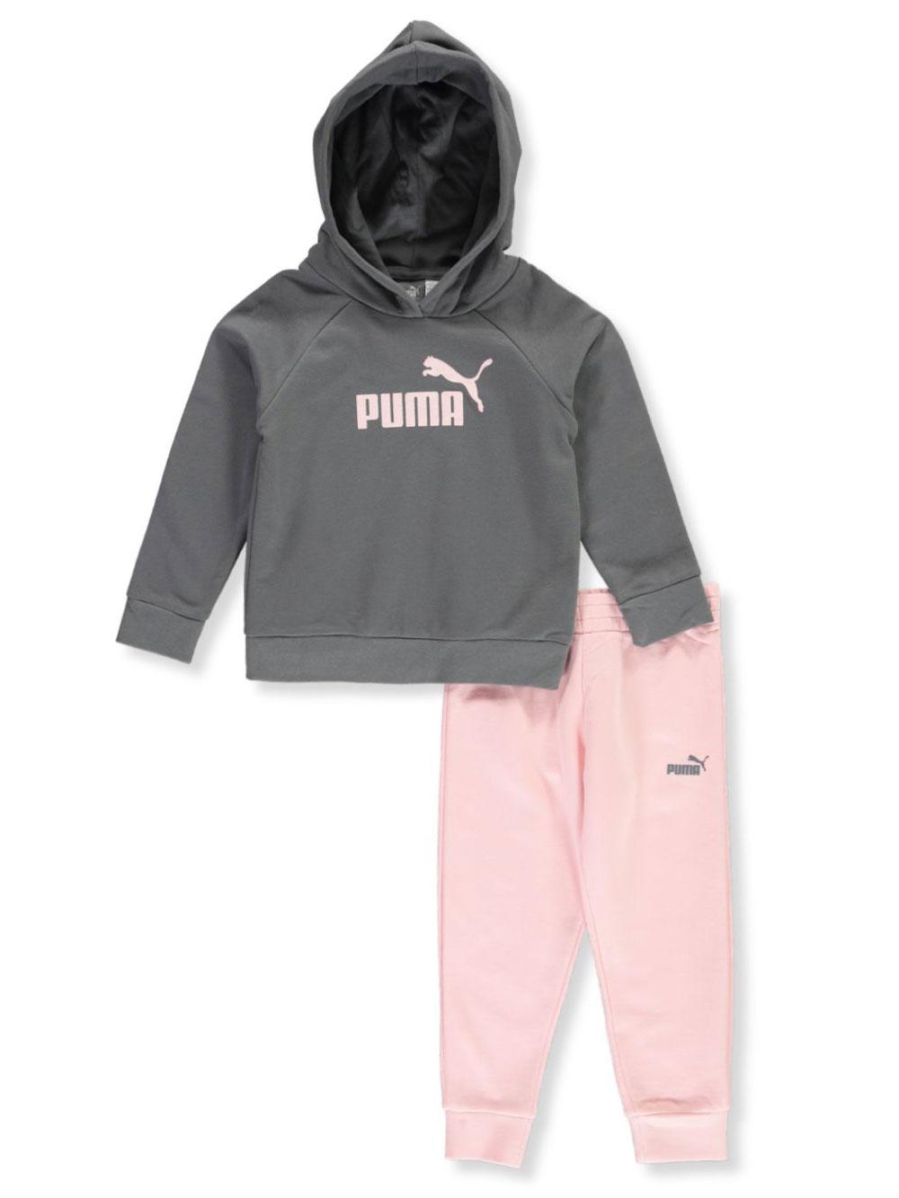69db8323afad9 Puma Girls' Raglan Seamed Fleece 2-Piece Sweatsuit Pants Set