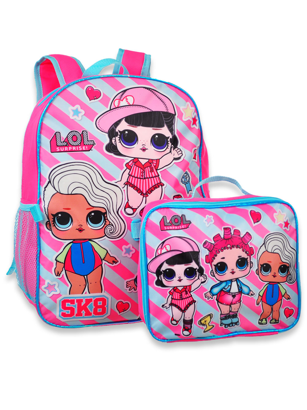 """Large School Backpack All Over Print White 16/"""" w// Water Bottle LOL Surprise"""