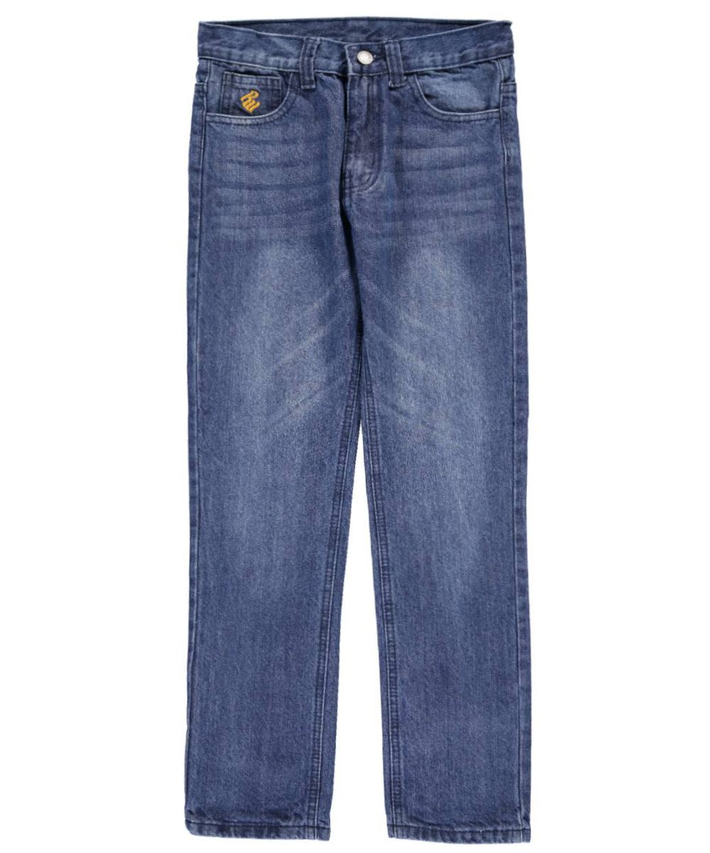 Image of Rocawear Big Boys Double Z Straight Fit Jeans Sizes 8  20  medium indigo 10