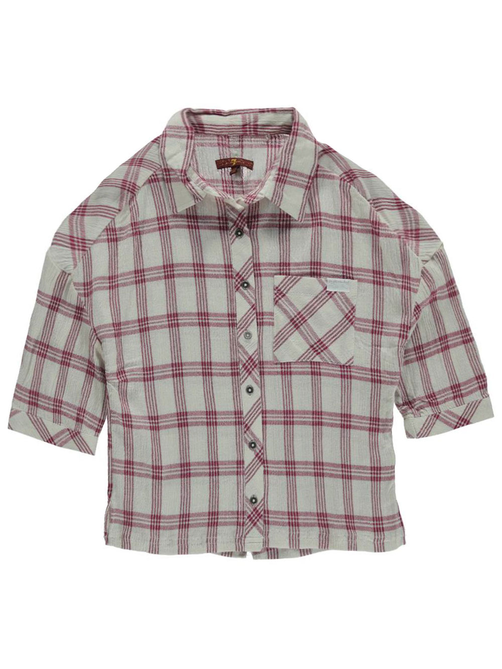 Image of 7 for All Mankind Big Girls Checked Gauze SS Shirt Sizes 7  16