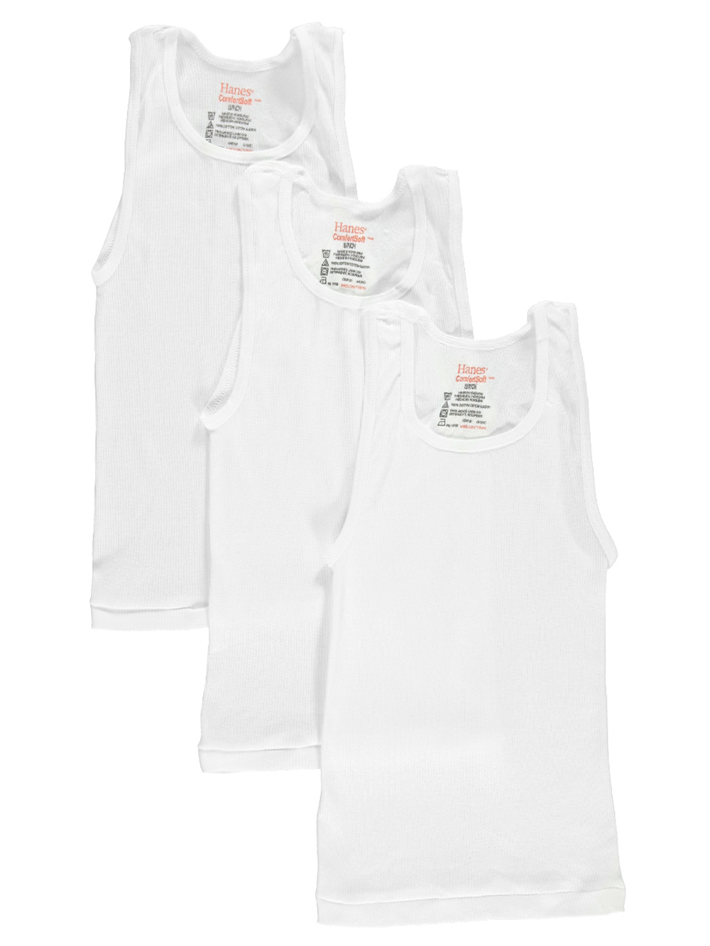 Image of Hanes Little Boys 3Pack Tagless Tanks Sizes 4  7  white 6  8