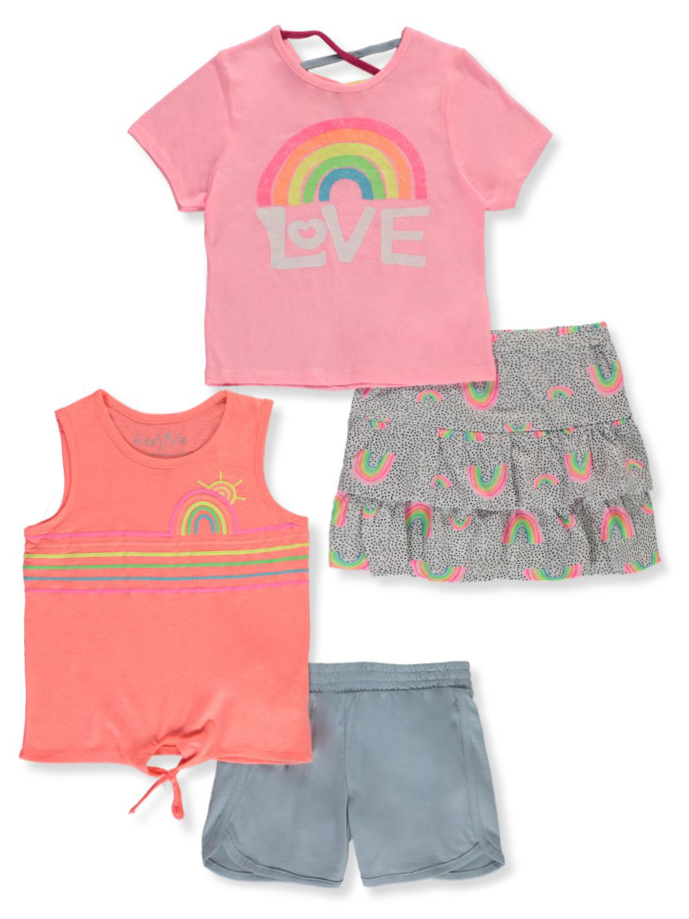 Colette Lilly Girls Sequins Flamingo 4-Piece Shorts Set Outfit