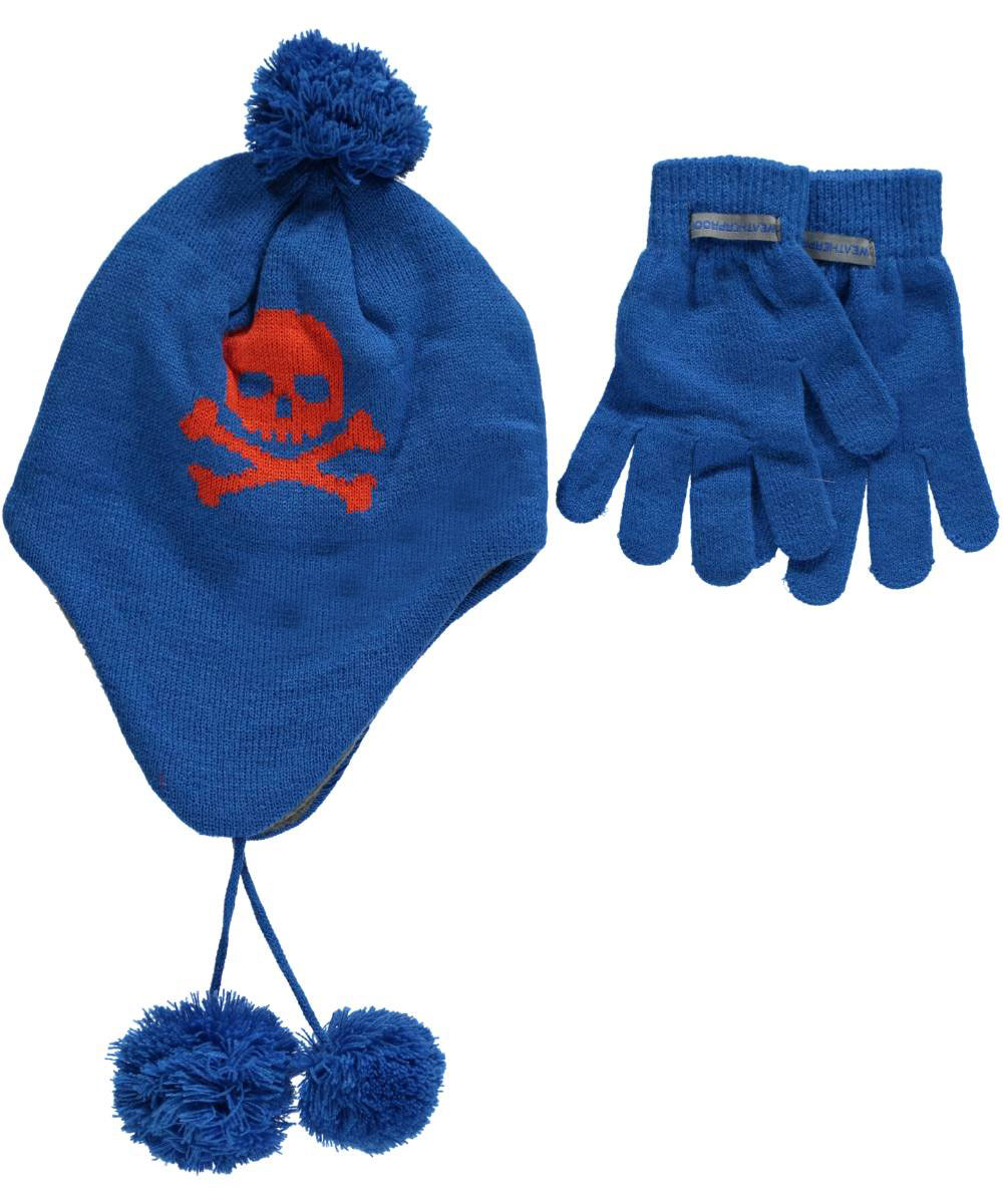 Image of Weatherproof Boys Skull  Crossbones 2Piece Winter Accessories Set Youth One Size  royal blue l  xl