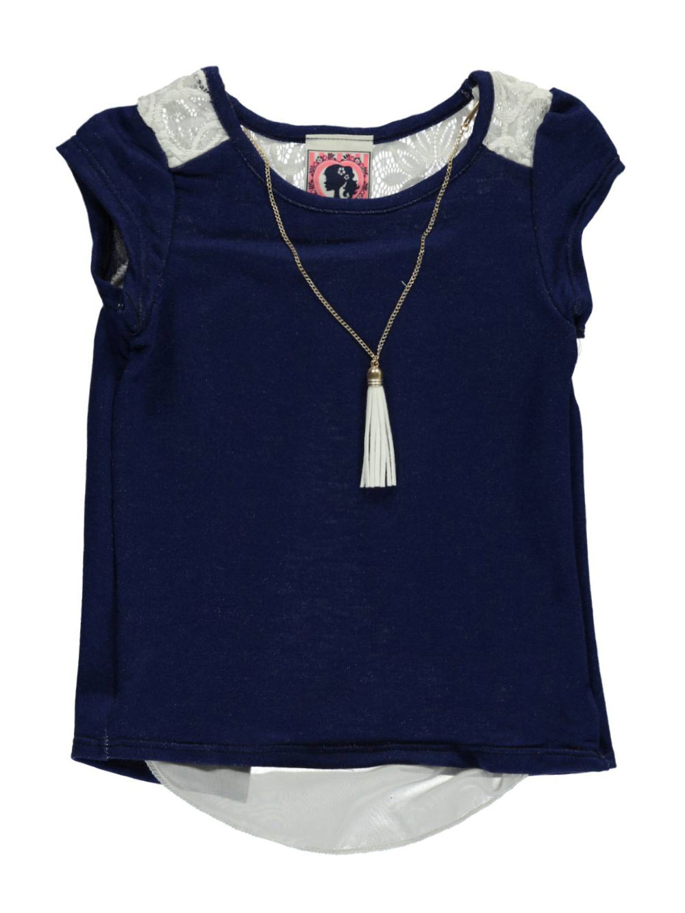 Image of Dream Girl Little Girls Lacy Chiffon Top with Necklace Sizes 4  6X