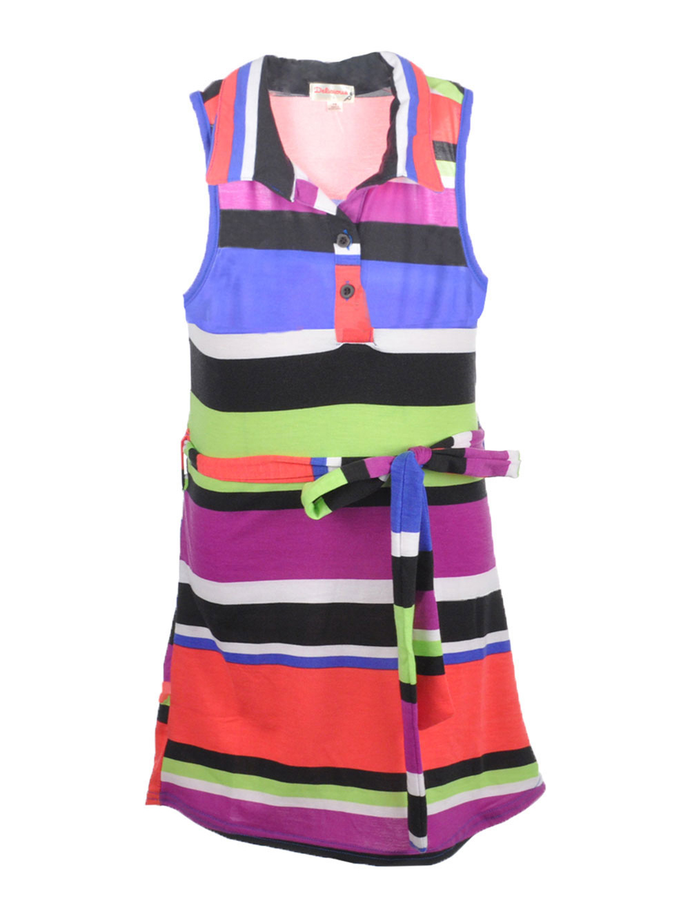 Image of Delicious Little Girls Polo Pop Belted Sundress Sizes 4  6X