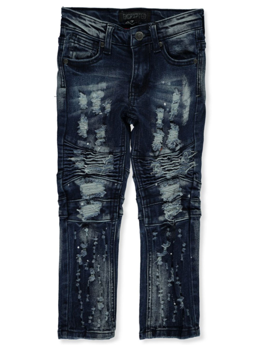 Encrypted Boys Moto Distressed Paint Slim Jeans