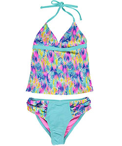 "YMI Big Girls' ""Watercolor"" 2-Piece Tankini (Sizes 7 – 16) - CookiesKids.com"