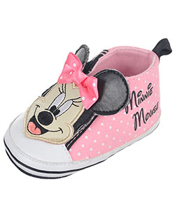"Minnie Mouse Baby Girls' ""Canvas Polka"" Hi-Top Sneaker Booties - CookiesKids.com"