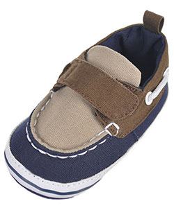 "Rising Star Baby Boys' ""Canvas Contrast"" Boat Shoe Booties - CookiesKids.com"
