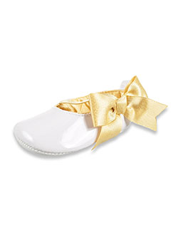 Baby Girls' Glitter Bow Mary Janes by Rising Star in White/gold