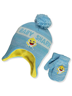 Pinkfong Text Earflap Beanie & Mittens Set by Baby Shark in Blue