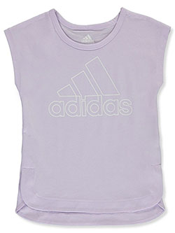 Girls' Cap Logo T-Shirt by Adidas in Purple, Sizes 4-6X