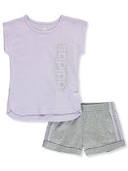 Heart Glitter Logo 2-Piece Shorts Set Outfit by Adidas in Lilac