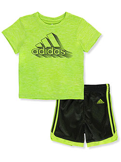 Mesh Line 2-Piece Shorts Set Outfit by Adidas in Mint