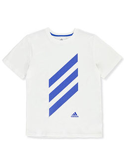 Boys' Dotted 3-Stripe Logo T-Shirt by Adidas in White