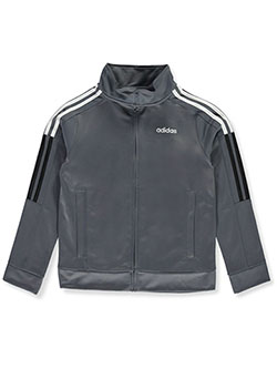 Boys' Stripe Logo Tricot Track Jacket by Adidas in Charcoal gray