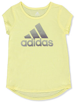 Girls' Glitter Logo T-Shirt by Adidas in Yellow, Sizes 7-16