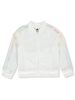 Girls' Ombre Stripe Track Jacket by Adidas in White, Sizes 7-16