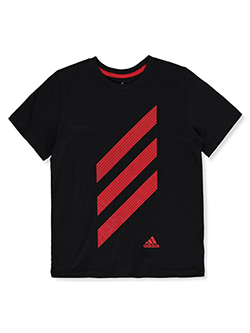 Boys' Dotted 3-Stripe Logo T-Shirt by Adidas in Navy