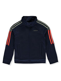 Boys' Stripe Logo Tricot Track Jacket by Adidas in Navy