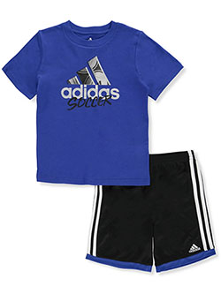Boys' 2-Piece Basketball Shorts Set Outfit by Adidas in Multi