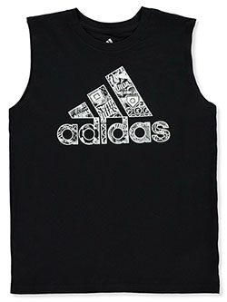 Boys' Basketball Sketch Tank Top by Adidas in Multi, Sizes 8-20