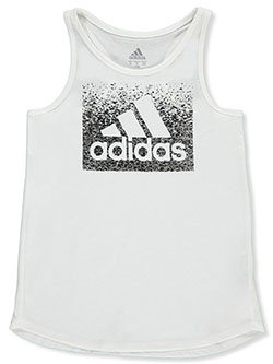 Girls' Fleck Logo Tank Top by Adidas in White, Sizes 7-16